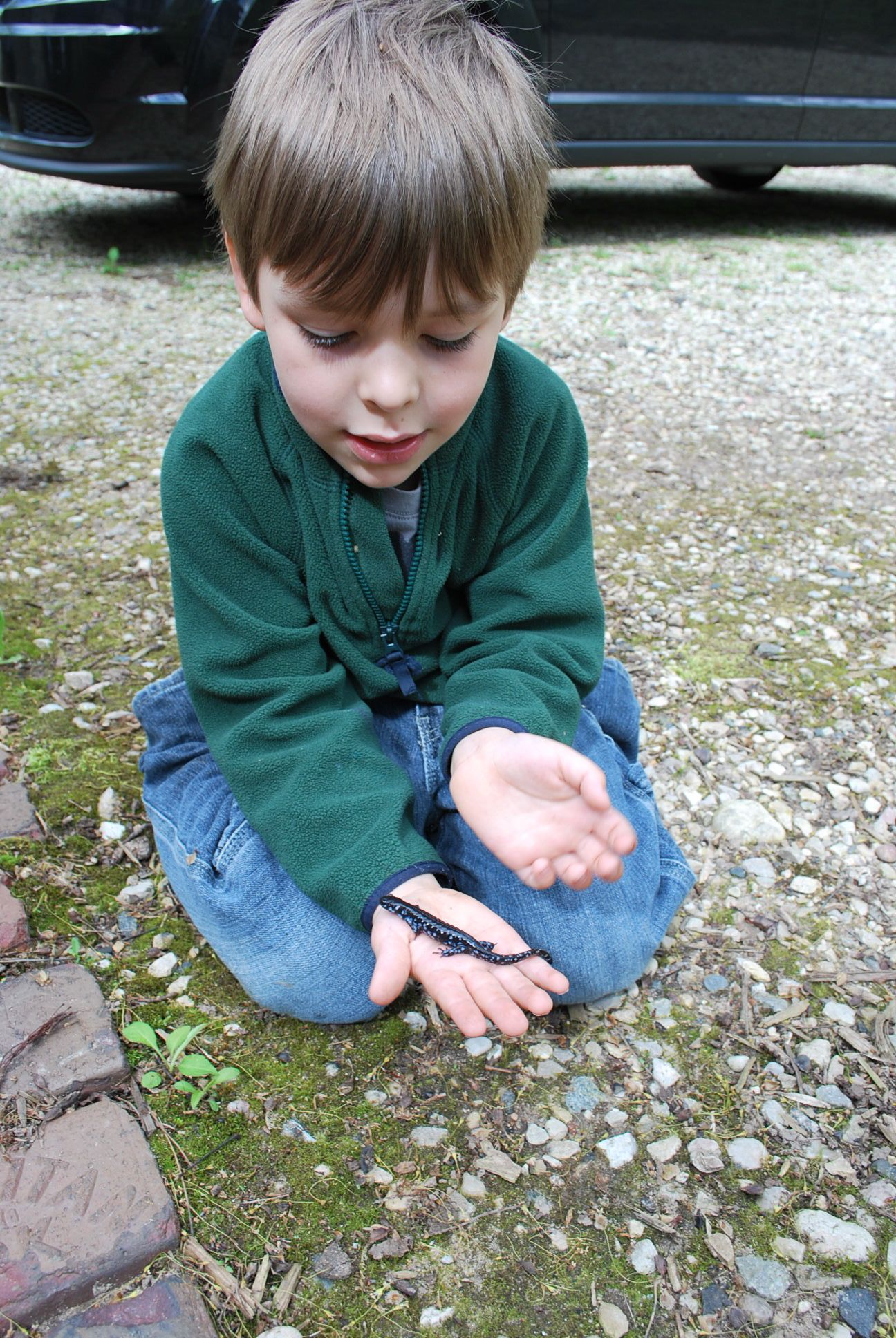 A child with a salamander