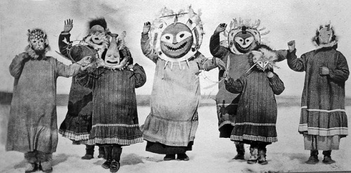 Still of Inuit dancers in masks from Uksuum Cauyai: The Drums of Winter, Sarah Elder and Leonard Kamerling, USA, 1989