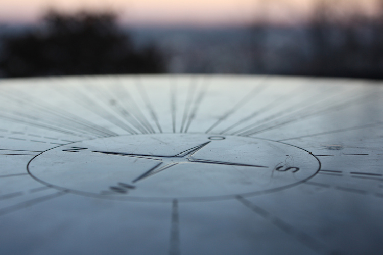 Etched stone compass