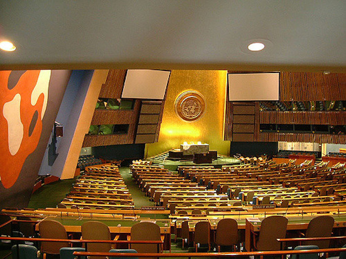 Empty hall of the UN General Assembly