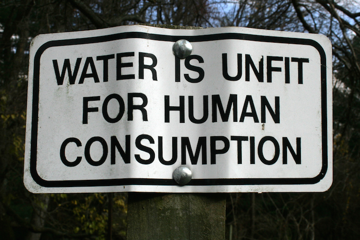 "Sign: ""Water is unfit for human consumption"""