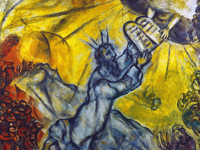 Moses receiving the tablets of the law by Marc Chagall