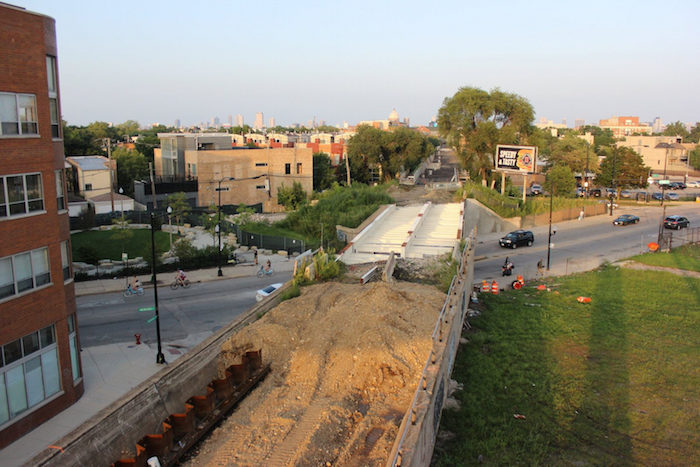 Bloomingdale Trail construction from above