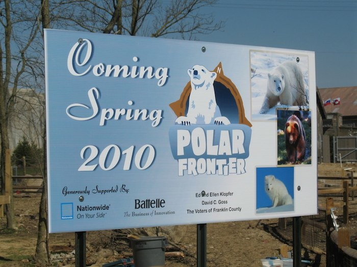 Advertisement for polar bear exhibit with sponsors listed