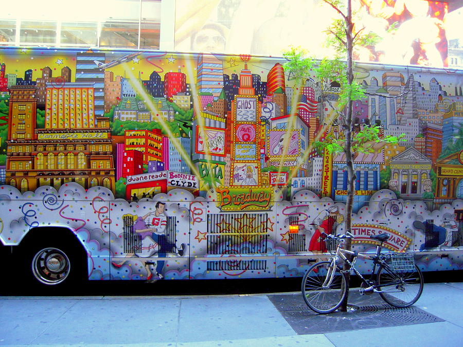 New York City Bus with Bike And Graffiti